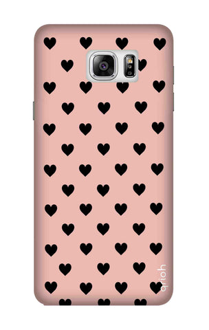 Black Hearts On Pink Samsung Note 7 Cases & Covers Online