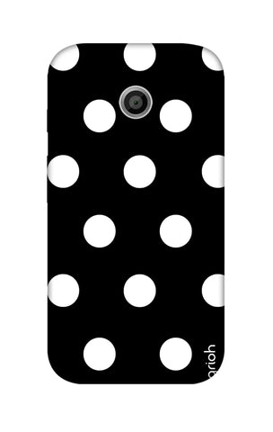 White Polka On Black Motorola Moto E Cases & Covers Online