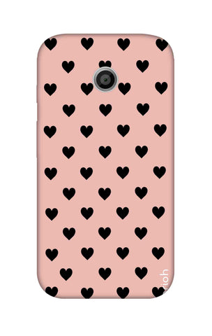 Black Hearts On Pink Motorola Moto E Cases & Covers Online