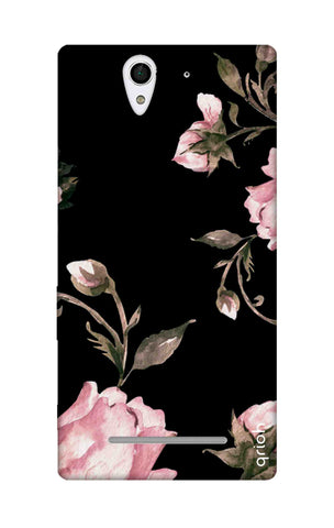 Pink Roses On Black Sony C3 Cases & Covers Online