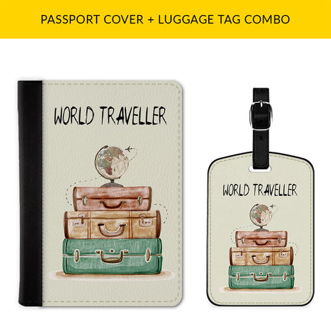 World Traveller Passport & Luggage Tag Combo