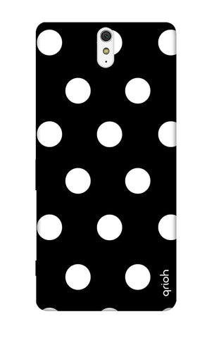 White Polka On Black Sony C5 Cases & Covers Online