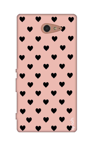 Black Hearts On Pink Sony M2 Cases & Covers Online