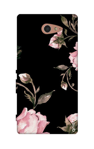Pink Roses On Black Sony M2 Cases & Covers Online