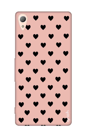 Black Hearts On Pink Sony M4 Cases & Covers Online