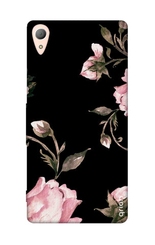 Pink Roses On Black Sony M4 Cases & Covers Online