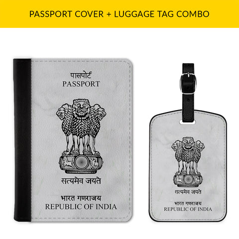 Republic of India Passport & Luggage Tag Combo