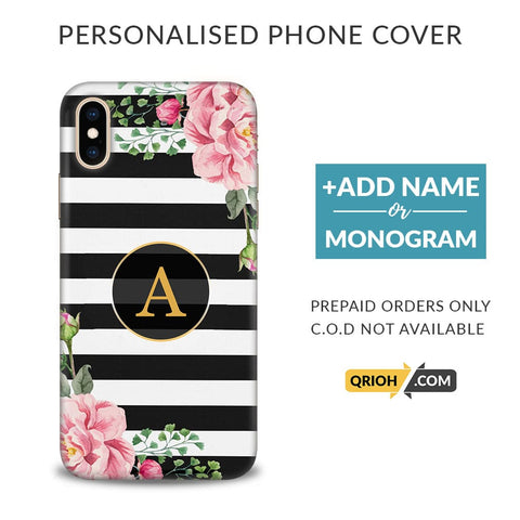 Floral Monogram Custom Phone Cover - COD Not Available