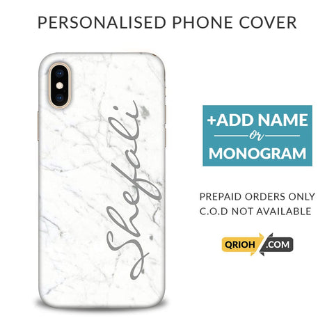 White Marble Custom Phone Cover - COD Not Available
