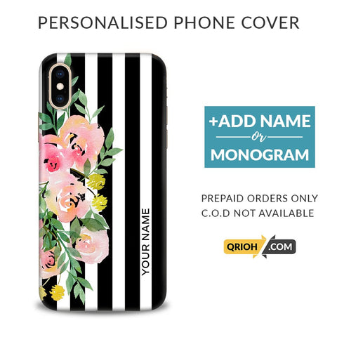 Floral Stripes Custom Phone Cover - COD Not Available