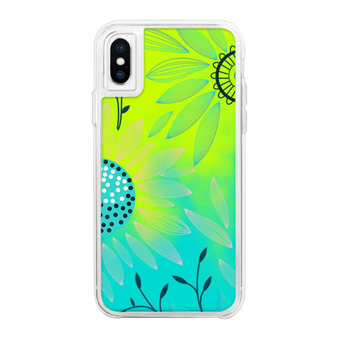 Floral Green Neon Sand Glow Case