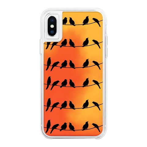 Silhouette Birds Orange Neon Sand Glow Case