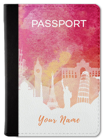 Pink Watercolor Custom Passport Wallet