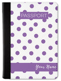 Polka Dots Purple Custom Passport Wallet