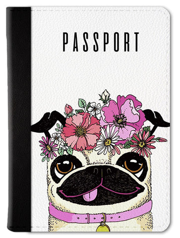 Puggie With Flowers Passport Wallet