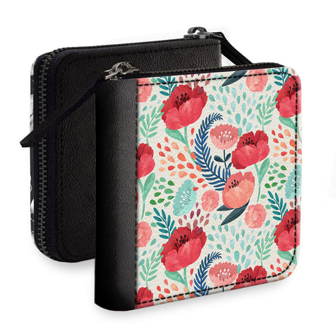 Red Flowers Square Wallet