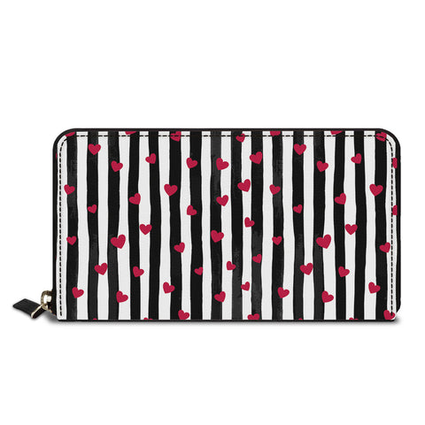 Red Little Hearts Classic Zipper Wallet