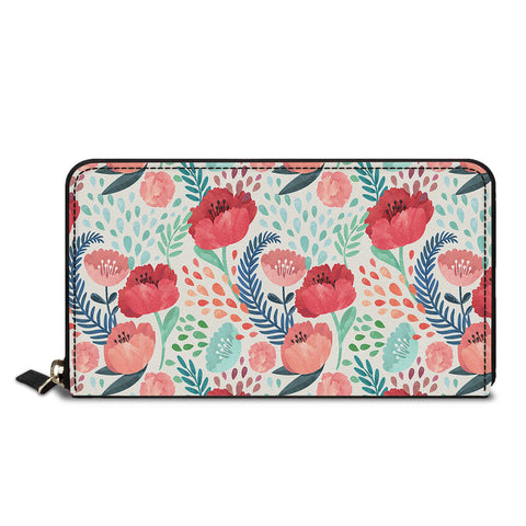 Red Flowers Classic Zipper Wallet
