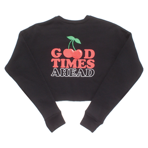 CHERRY CROPPED CREW NECK - BLACK