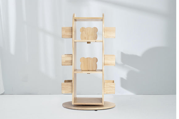 Revolving Solid Wood Bookcase - Bunnytickles