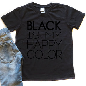Black is my Happy Color - Kid's Black Tee - West+Mak