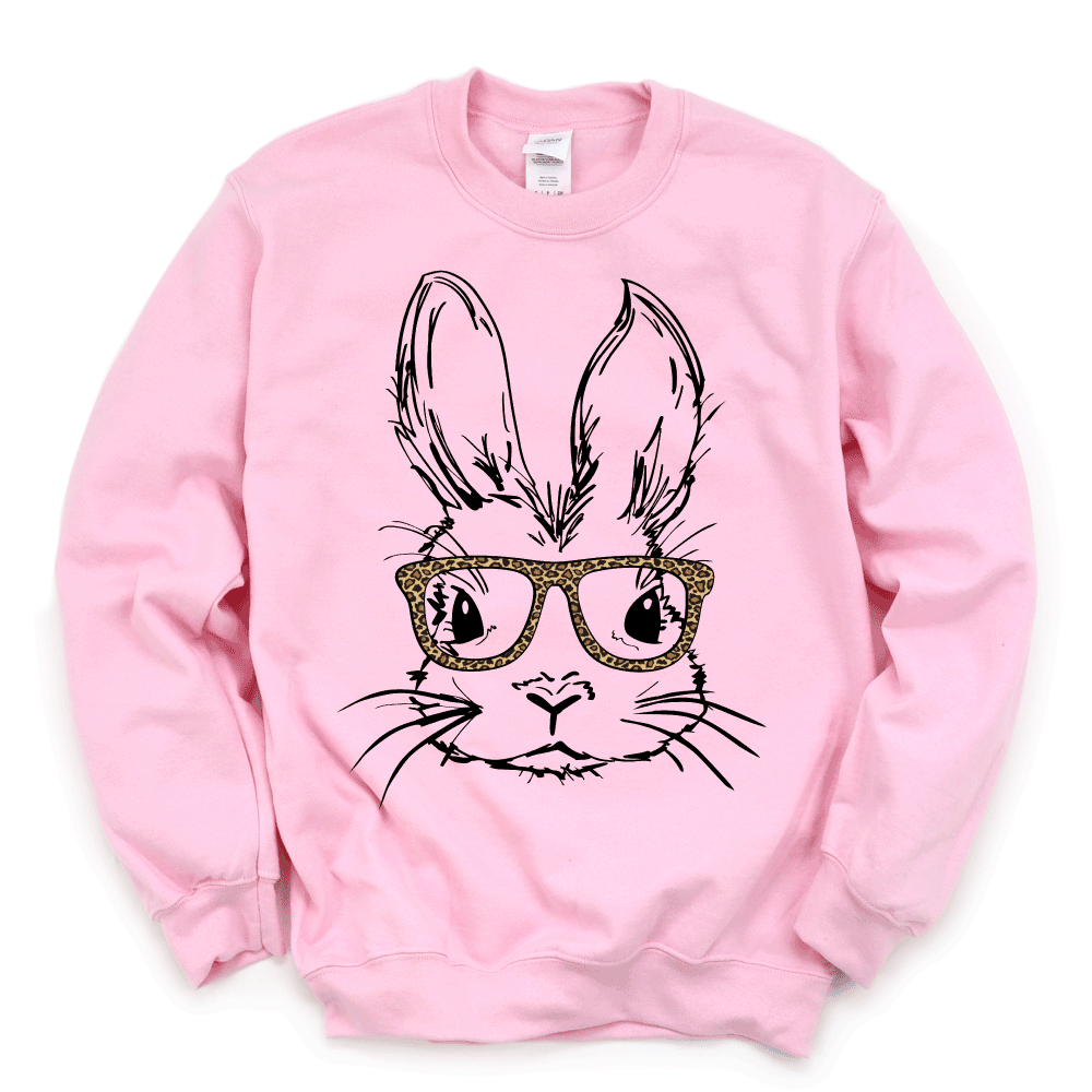 Easter Bunny with Leopard Glasses - Adult Pullover Fleece - West+Mak