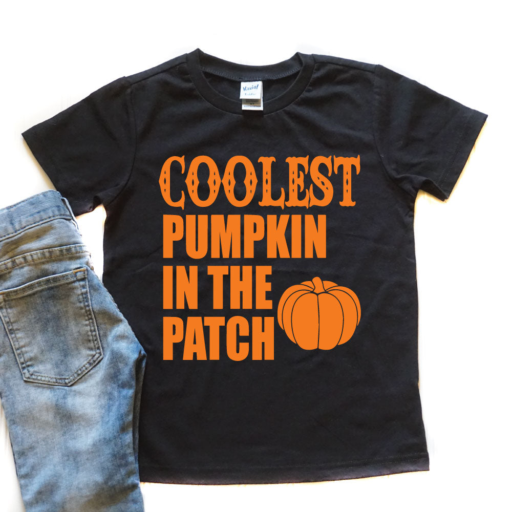 Coolest Pumpkin in the Patch - Kid's Black Tee/Hooded Long Sleeve - West+Mak