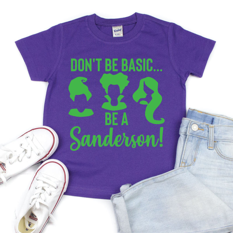 Don't Be Basic, Be a Sanderson - Kid's Purple Short Sleeve Tee - West+Mak