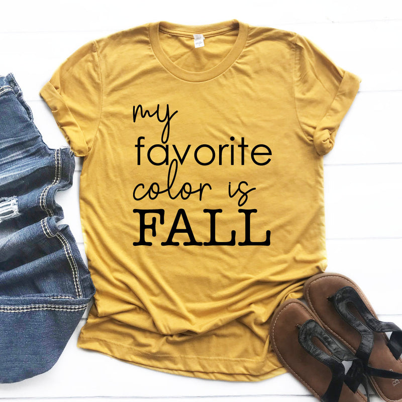 Favorite Color is Fall - Unisex Mustard Short Sleeve Tee - West+Mak