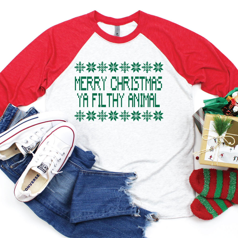 *PRE-ORDER* Merry Christmas Ya Filthy Animal - Kid's Raglan Tee - West+Mak