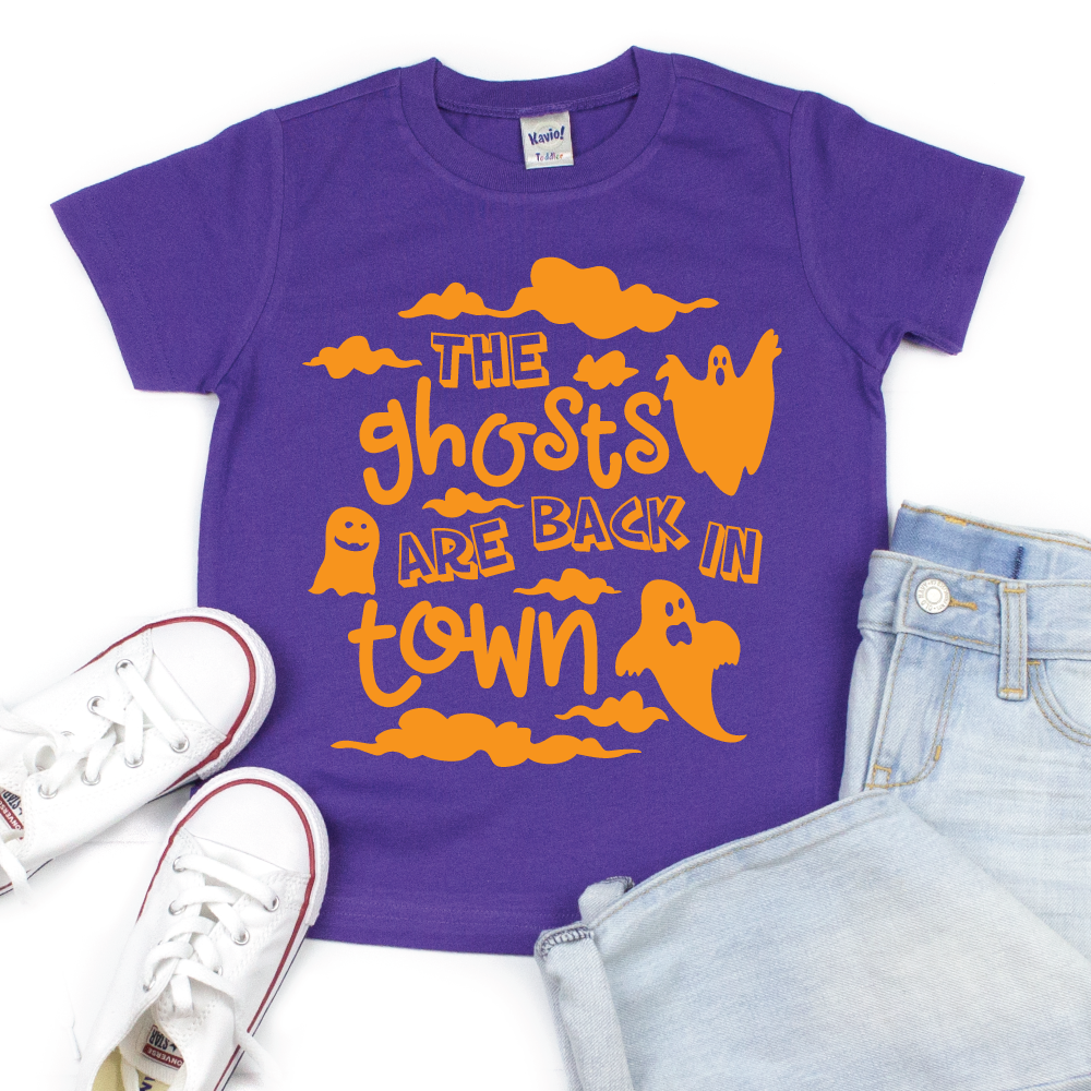 The Ghosts Are Back in Town - Kid's Purple Short Sleeve Tee - West+Mak