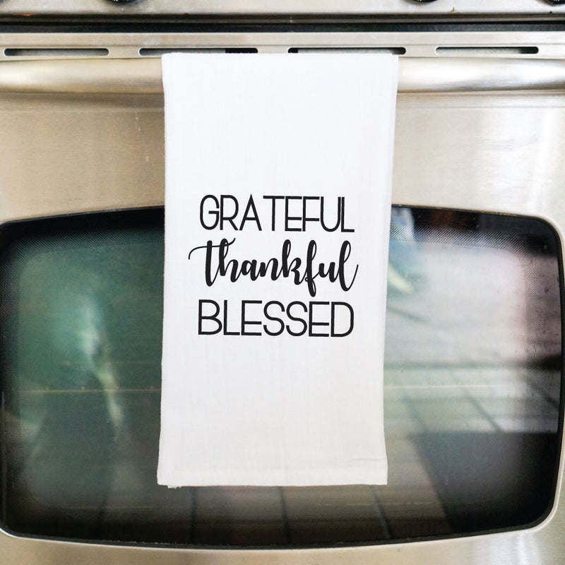 Grateful Thankful Blessed Flour Sack Towel - West+Mak