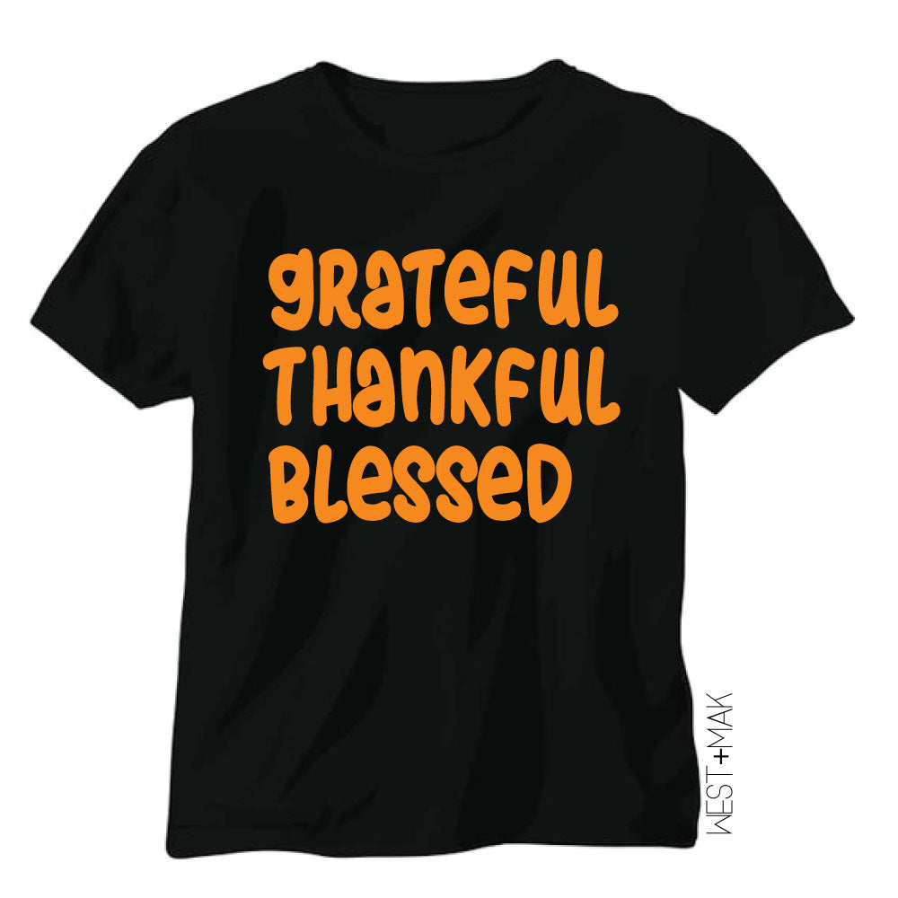 Grateful Thankful Blessed - Kid's Black Tee/Hooded Long Sleeve - West+Mak