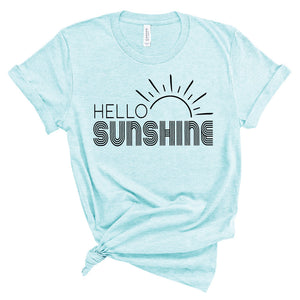 Hello Sunshine - Unisex Heather Ice Blue Tee - West+Mak