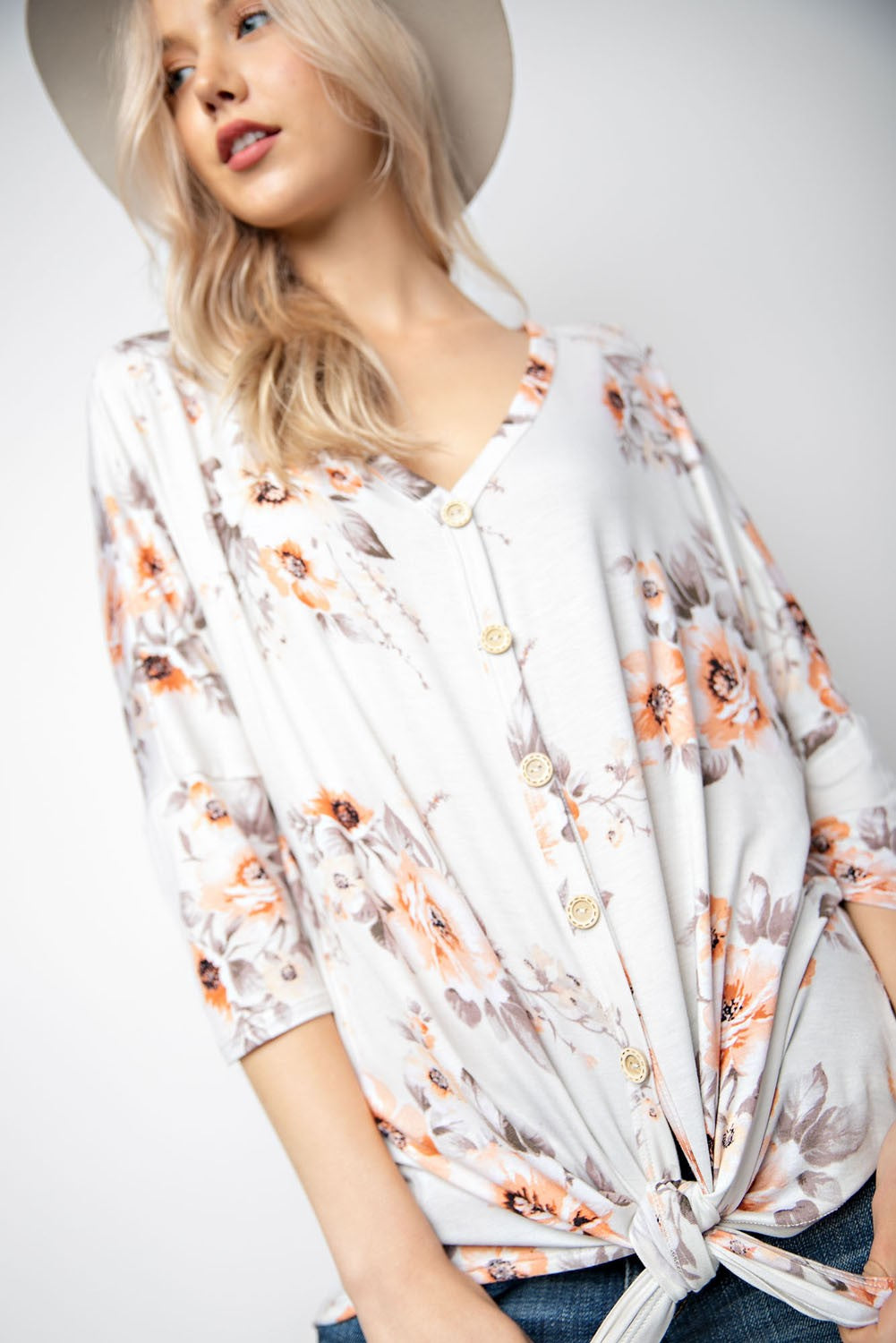 Floral Button Down Top Ivory - West+Mak