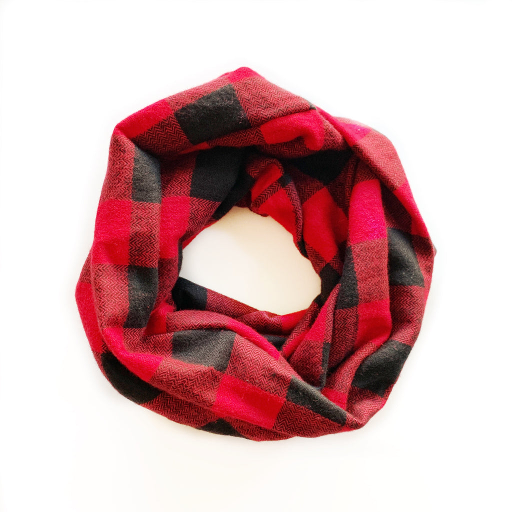 Buffalo Plaid Red Infinity Scarf