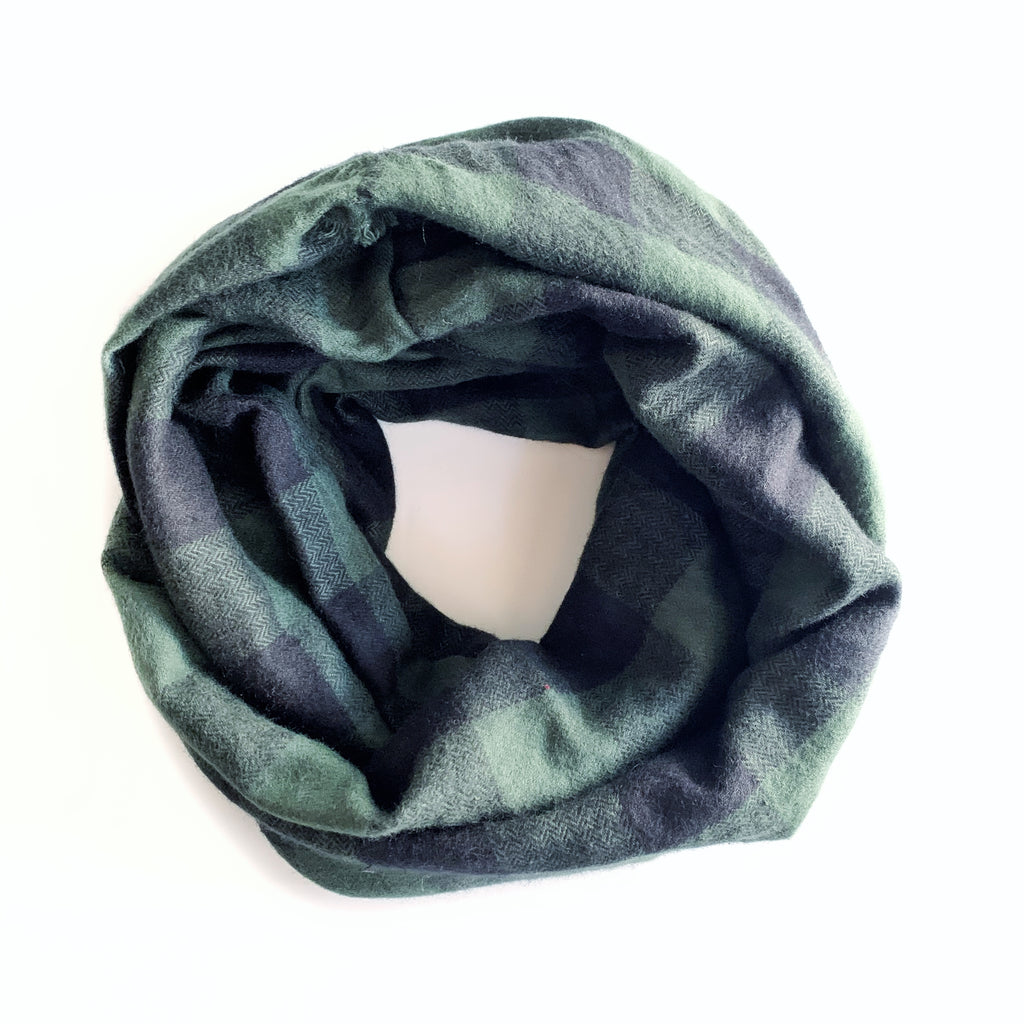 Buffalo Plaid Green Infinity Scarf