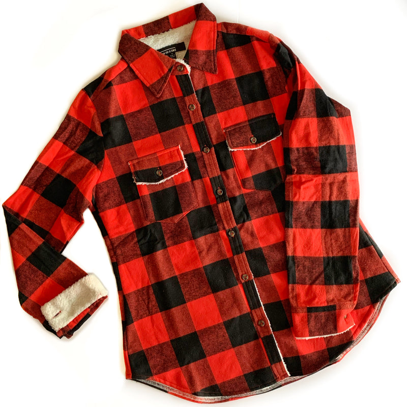Buffalo Plaid Fur Lined Shirt Jacket - LIMITED STOCK! - West+Mak
