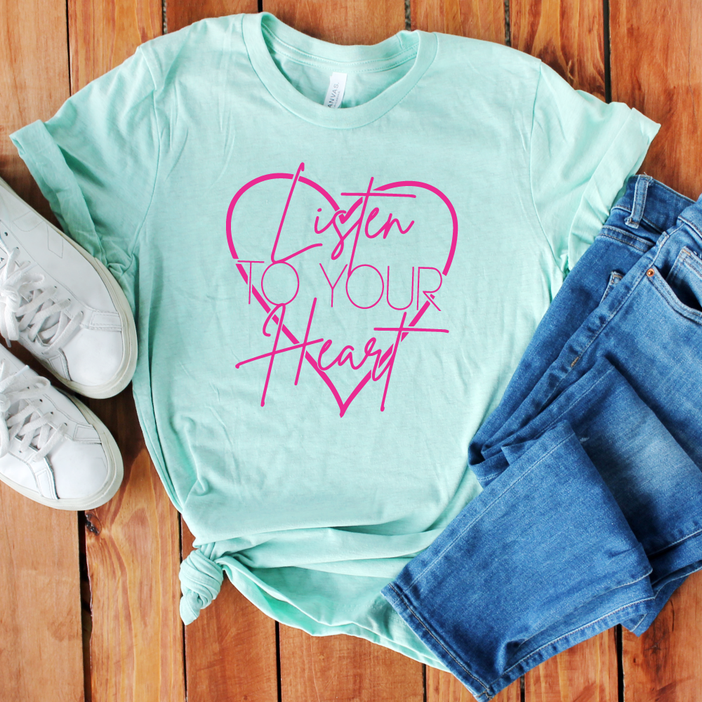 Listen to Your Heart - Adult Unisex Mint Short Sleeve - West+Mak