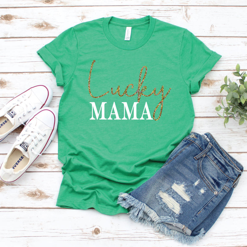 Lucky Mama Shirt - Unisex Heather Green Tee - West+Mak