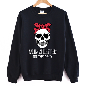 Momzausted on the Daily Skull - Adult Unisex Black Pullover - West+Mak