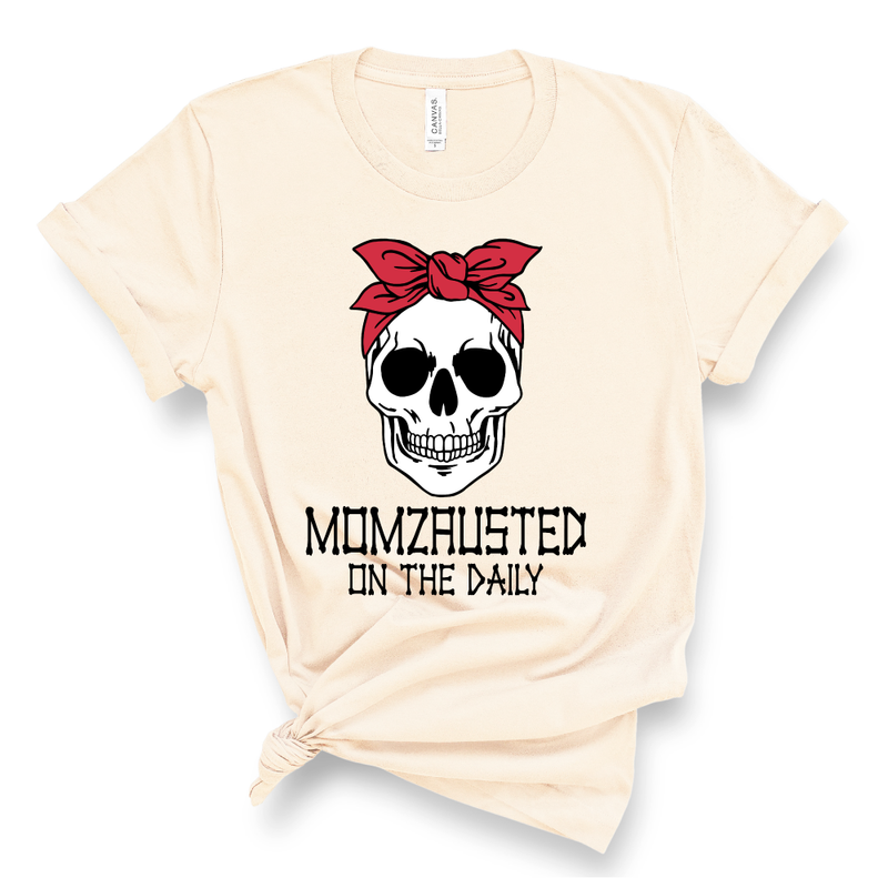Momzausted on the Daily Skull - Adult Unisex Soft Cream Tee - West+Mak