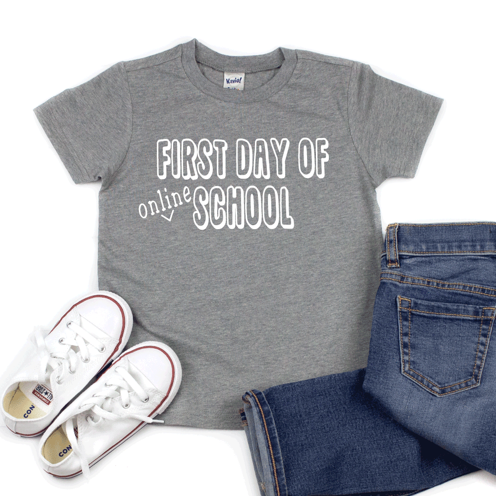 First Day of Online School  - Kids Short Sleeve Tee