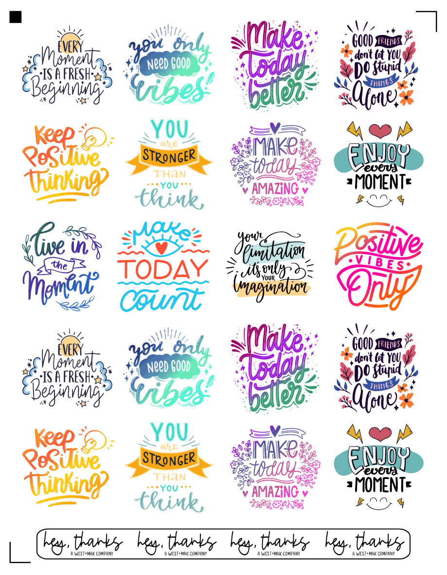 Positive Affirmations - Sticker SHEET