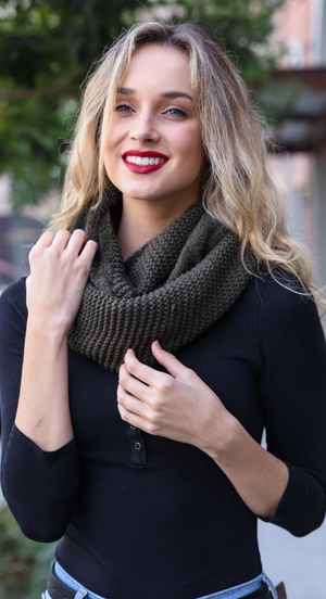 Olive Chunky Infinity Scarf