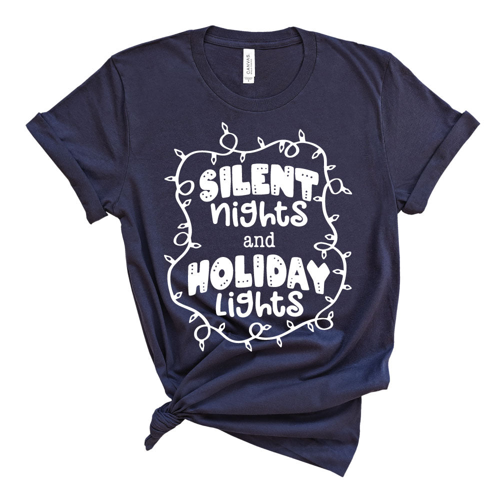 Silent Nights and Holiday Lights - Adult Unisex Tee