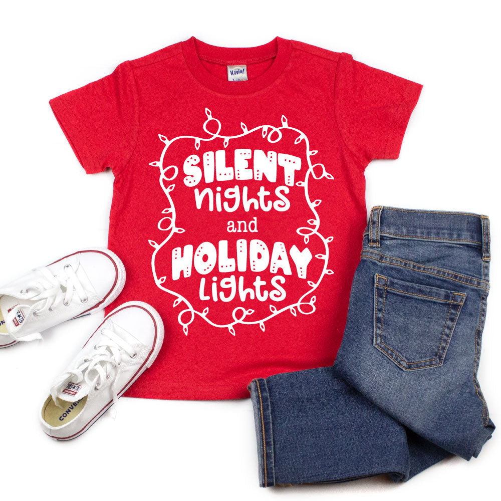 Silent Nights and Holiday Lights - Kid's Short/Long Sleeve Tee