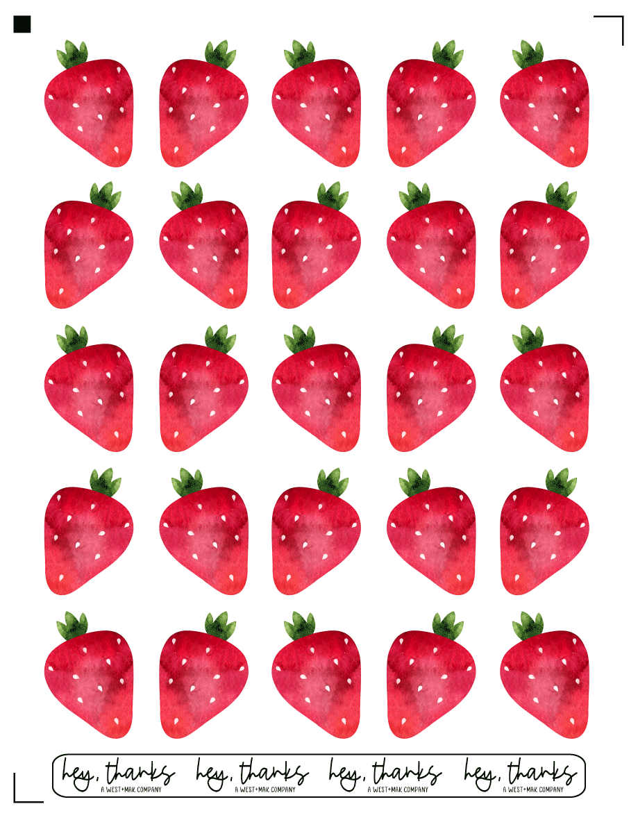 Strawberries - Sticker Sheet (25 Stickers)