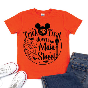 Trick or Treat Down Main Street - Kid's Orange Short Sleeve Tee - West+Mak