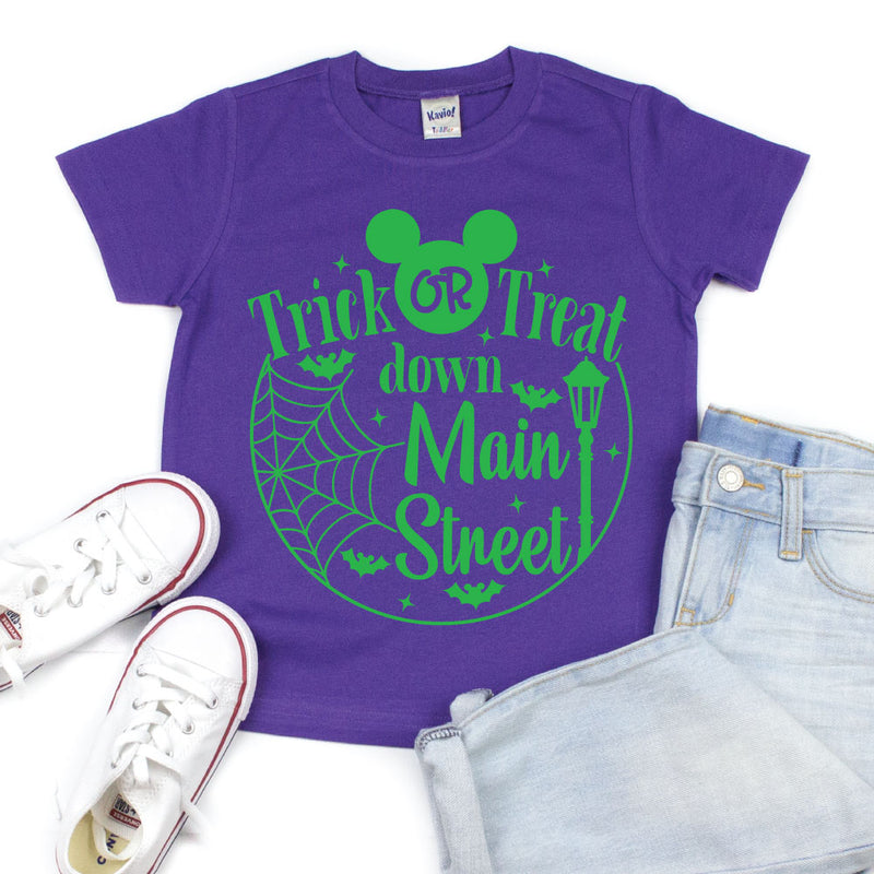 Trick or Treat Down Main Street - Kid's Purple Short Sleeve Tee - West+Mak